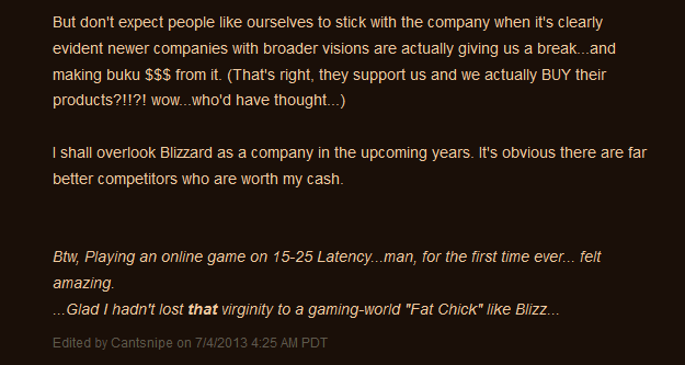 Battle.Net member Cantsnipe states his case for oceanic realms to Blizzard very elegantly.