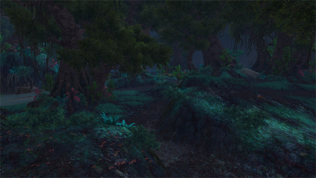 Just next to Valley of the Four Winds lies the Krasarang Wilds. A dark forest with enormous trees towering over you. You can see each zone has it's own distinct personality.