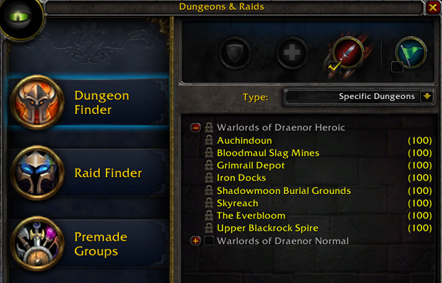 This is just a list of current dungeons available in Warlords of Draenor which has only just been released. Here's a full list of dungeons and raids.