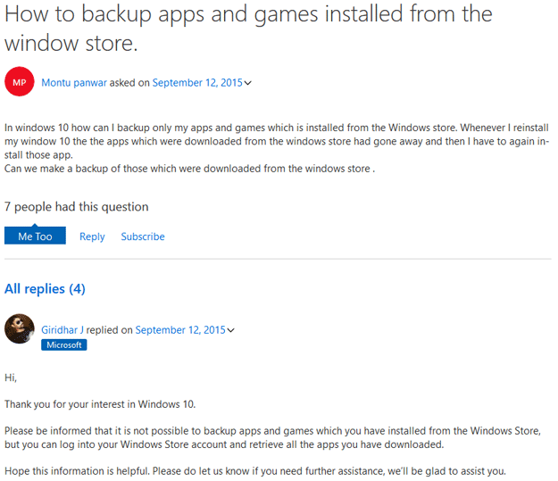 Microsoft Windows Store backup